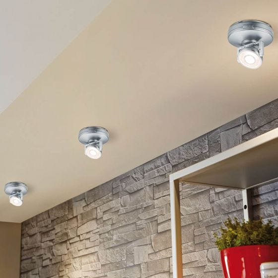 Rotate LED Battery Operated Cabinet Light - Silver