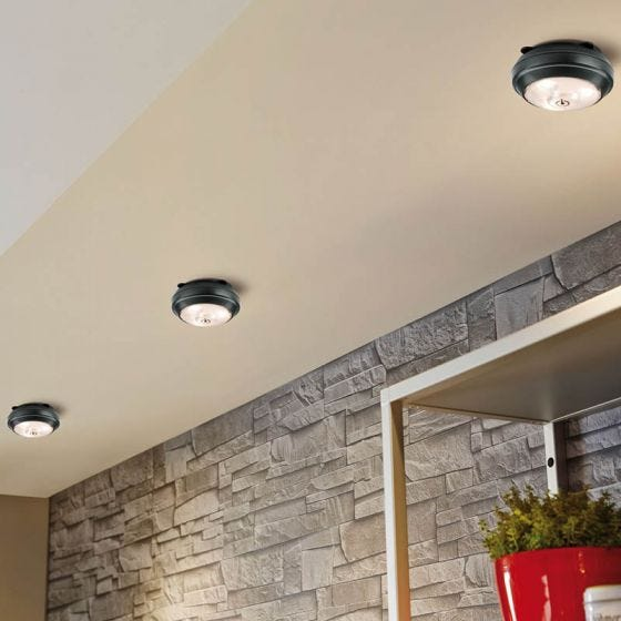 Button LED Battery Operated Push Cabinet Light - Anthracite