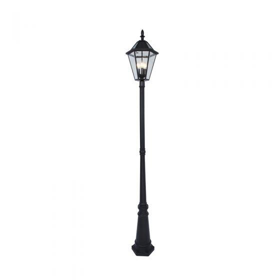 Lutec London Solar LED Lamp Post - Black