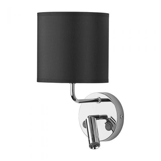 Edit Chalet Wall Light with LED Reading Light - Black & Chrome