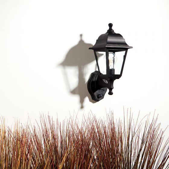 Edit Coastal Sennen Outdoor Lantern Wall Light with Dusk to Dawn Sensor - Black