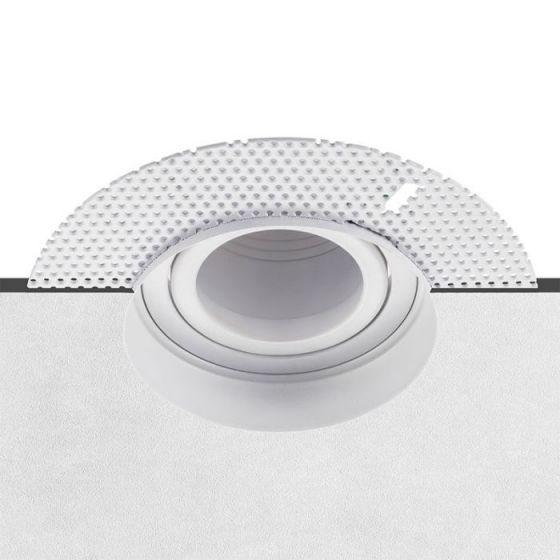 Trimless Plaster-In Tiltable Downlight - White