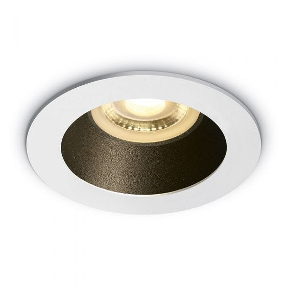 Cove Recessed Fixed Downlight - White with Black Reflector