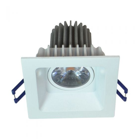 Square Recessed 8W Cool White LED Fixed Downlight - White