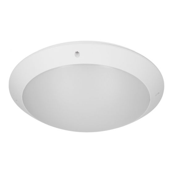 Protect 12W Cool White Outdoor LED Flush Light -  White