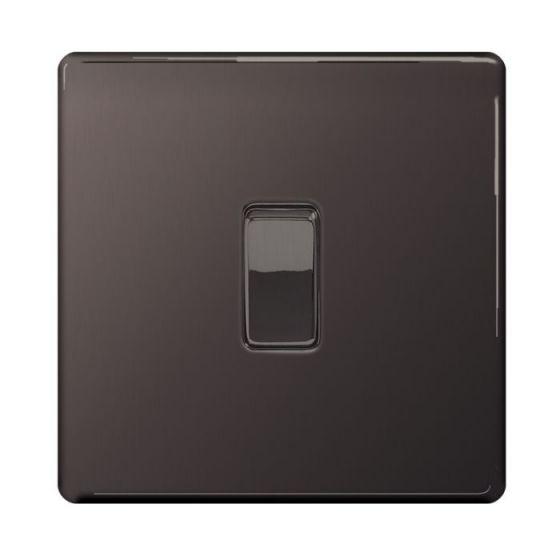 Black Nickel Screwless 10A 1 Gang 2 Way Light Switch