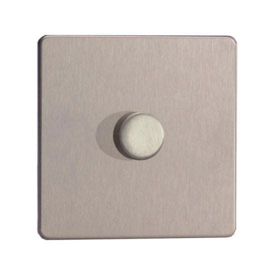 LED Compatible Dimmer 1 x 300W - Brushed Steel