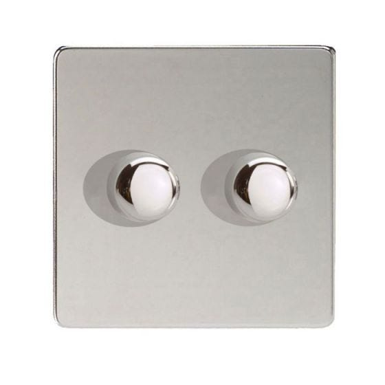 LED compatible Dimmer 2 x 250W - Polished Chrome