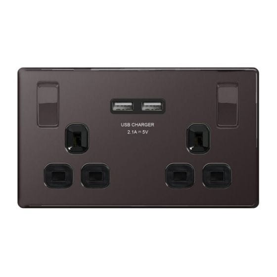 Black Nickel Flat Plate 13A 2 Gang Socket With USB Charging Ports