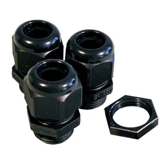 CED Black Cable Glands and Locknuts Kit - 20mm - Pack of 10
