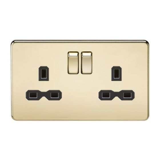 Polished Brass Screwless 13A 2 Gang Switched Socket