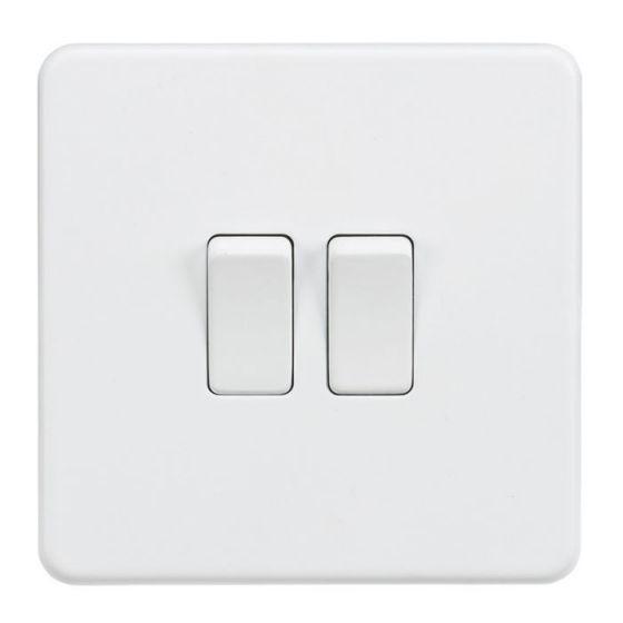 Matt White Screwless 10A 2 Gang 2 Way Light Switch