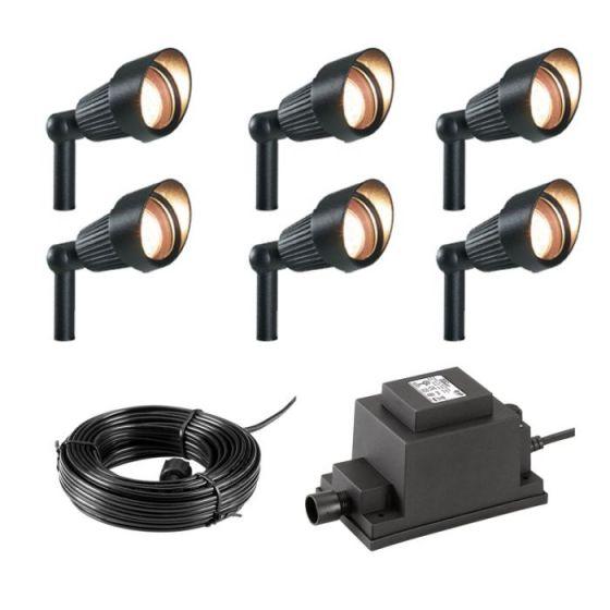Techmar Plug and Play - Focus Verona LED Garden Spotlight Kit - 6 Lights