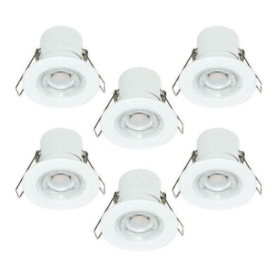 Luceco F-Eco 5W Warm White Dimmable LED Fire Rated Fixed Downlight - White - Pack of 6
