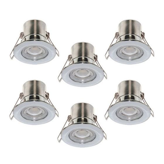 Luceco F-Eco 5W Warm White Dimmable LED Fire Rated Fixed Downlight - Polished Chrome - Pack of 6