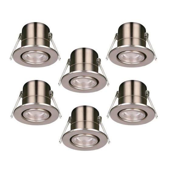 Luceco F-Eco 5W Cool White Dimmable LED Fire Rated Adjustable Downlight - Brushed Steel - Pack of 6