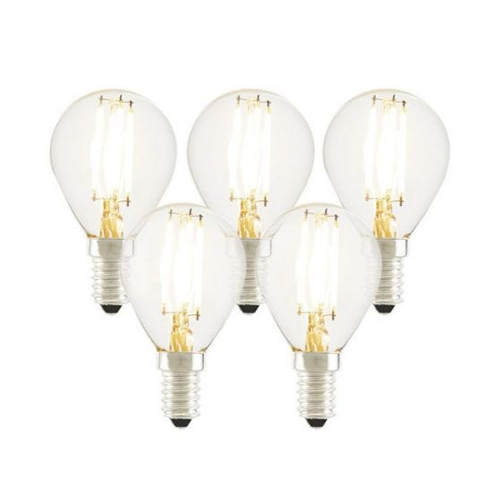 Tagra 4W Warm White Dimmable LED Decorative Filament Golf Ball Bulb - Small Screw Cap - Pack of 5