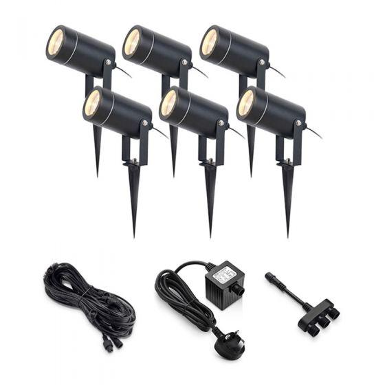 EasyFit 12v Garden Lights - Chelsea LED Garden Spotlight Kit - 6 Lights
