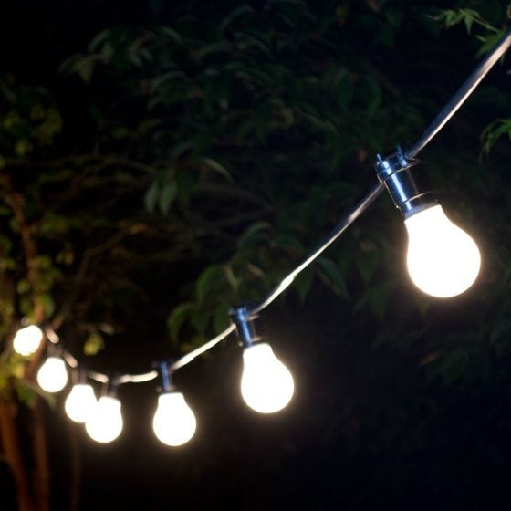 10M Weatherproof Warm White LED Black Festoon Lighting Kit - 10 Lights