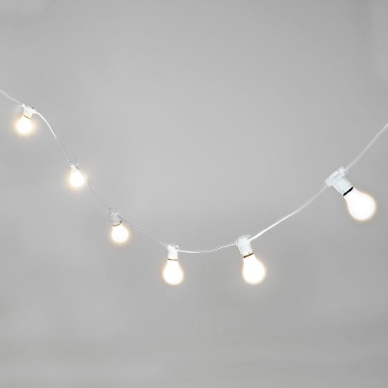 52M Weatherproof Cool White LED White Festoon Lighting Kit - 50 Lights