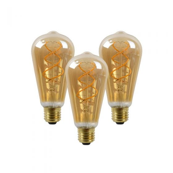 5W Very Warm White Dimmable LED Decorative Filament Squirrel Cage Bulb - Screw Cap - Pack of 3