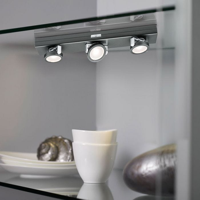 Rotate 3 Light Led Battery Operated Under Cabinet Light Anthracite Lyco